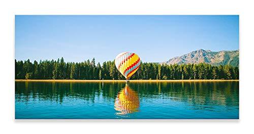 Thousand Face South Lake Tahoe Hit Luftballon Blau Grün Panorama Wandbild Home Decor Wohnzimmer Bad Art Schlafzimmer Küche Bild Einzel-Panel (102 cm x 46 cm) - Tahoe Schlafzimmer