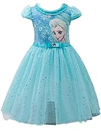 Eyekepper cstume delle ragazze delle bambine Abito fumetto Elsa principessa Cosplay Mesh Vestito a palloncino per altezza 100-150cm