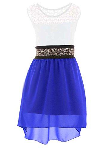 Neu PK99 Mädchen fest Kommunions Hochzeit Kinder festlich Party kleid (98-104, - Blau Kleid Mädchen
