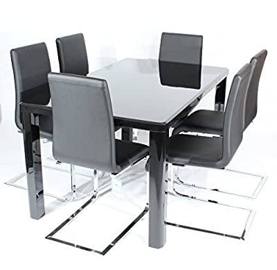 Charles Jacobs Dining Table Set with 6 Black Chairs, Thick Solid Legs and Black High Gloss MDF Top, 6 Seats - Premium Quality