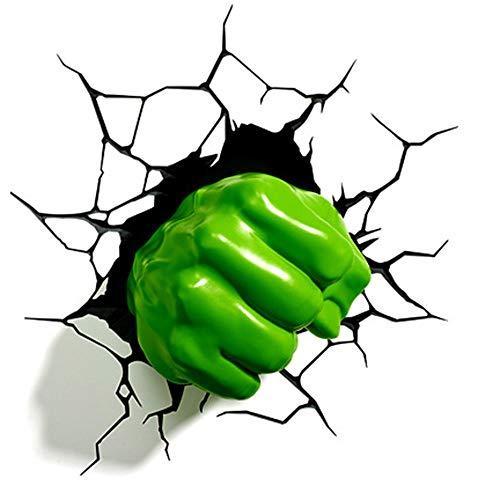 Wall lamp Luz De Pared 3D Marvel Hulk Guantes Luces Nocturnas Avengers 4led Novedad Lámpara De Pared...