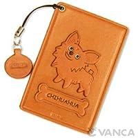 Dog-Chihuahua Pass, carta d'identità, in pelle, con porta carte di credito/tessere, VANCA Custodia **, fatto a mano, Made in