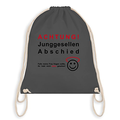 JGA Junggesellenabschied - Achtung Junggesellenabschied - Turnbeutel I Gym Bag Dunkelgrau