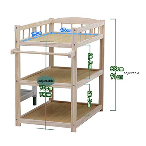 QZ® Wood Baby Changing Table On Wheels, Nursery Infant Dresser Storage Bath Tub Unit Station