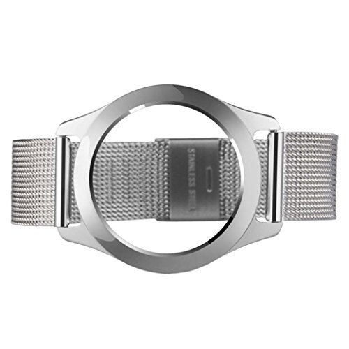 Transer® Misfit Shine Series 2 Bracelet Smart Wristwatch Ersatz Uhrenarmbänder Luxus Fashion Edelstahl Uhrenarmband Langlebig Bügel Armband für Uhren Länge: 234MM Breite: 16MM Schwarz, Silber, Rose Gold (Silber) (Doppel-band Silber Ring)