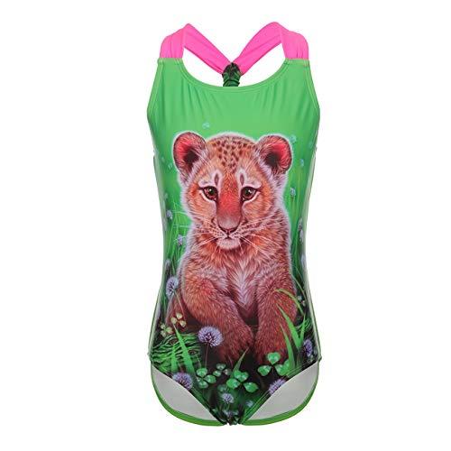 DAYU Mädchen Badeanzug Einteiler Badeanzug Cute Leopard Muster Bandage Bademode Kinder Beachwear -4-5