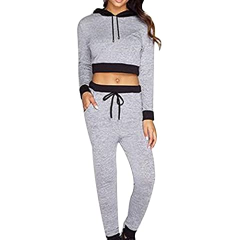 Women's Sexy Stitching Crop Tops+Trousers 2 Pcs Set Tracksuit Jacket, Gray, Medium