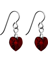 Solid Titanium Heart January Birth Month Earrings Created with Swarovski Crystals