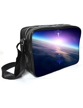 Snoogg Sunrise From Space Leder Unisex Messenger Bag für College Schule täglichen Gebrauch Tasche Material PU