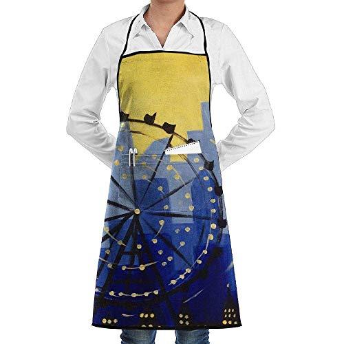 Sangeigt Küche, die Garten-Schürze kochtn, Bib Apron with Pockets City Ferris Wheel Durable Cooking Kitchen Aprons