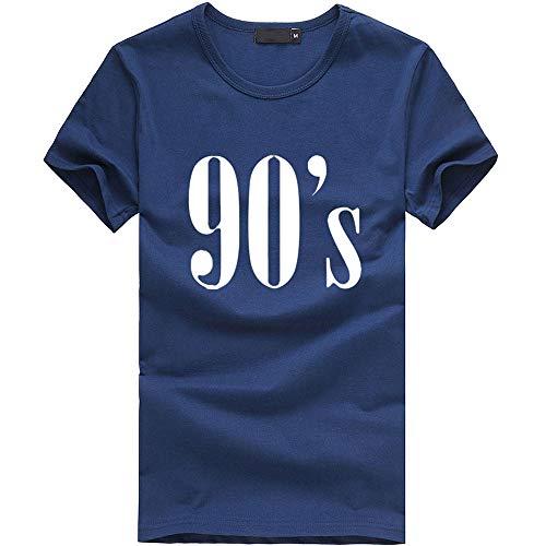 Mode Damen Shirt, lose Tunika Kurzarm 90er Jahre Brief T-Shirt lässig Oansatz Wild Tops Tägliche Party Dating Wear Basis Shirt(Blau,Medium)
