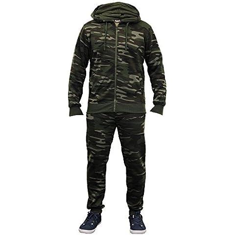 Uomo Mimetico Tuta Da Ginnastica Militare Maglia Con Cappuccio Pantaloni Foderato In Pile Invernale - Tuta Militare