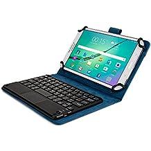 Custodia Tablet 7 - 8 Pollici Tastiera Wireless, Cover COOPER TOUCHPAD EXECUTIVE 2-in-1 Bluetooth Mouse Touch-pad Windows Android Protettiva, Pelle, A Libro, Viaggio, Supporto con Cavalletto (Blu)