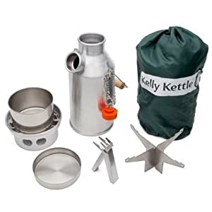 39 trekker 39 kelly kettle kit da campeggio bollitore 0 57 l acciaio inox e fornelletto. Black Bedroom Furniture Sets. Home Design Ideas