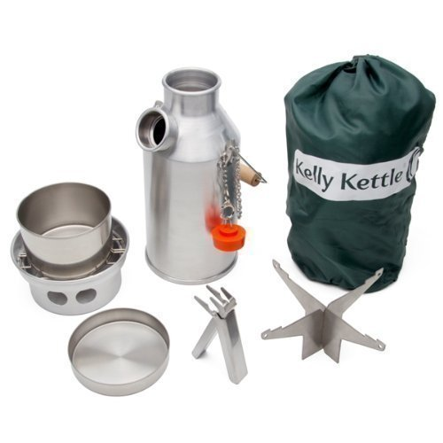 Ltr-batterie ('Trekker Kelly Kessel® - ELEMENTAR KIT (0.6ltr Alu Kessel + Stahl Topf Set + Stahlkanne Unterstützung) Camping Kessel und Herd in einem. Gewicht 0.84kg / 1.82lb)