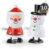 Kompanion Set de 10 Juguetes de Cuerda Navideños – Santa y Muñeco de Nieve Decorativo – Accesorio de Decoración para Cena, Celebración de Navidad – Adorno de Mesa Festiva – Favor y Relleno de Regalo