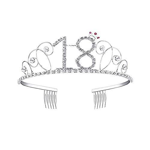 Know Happy Birthday Diadem mit Kristallen, Tiara, Königin, Prinzessin, Krone, Tanz, Party, Haarband, Haarkämme, Haarspange, für Mädchen, 18/20/21/30/40/50/60/70/80/90. Geburtstag, a, 18 (Happy Birthday Erwachsenen)