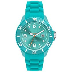 LIGHT BLUE I-STYLE QUARTZ RUBBER SILICONE SPORTS WATCH UNISEX WITH DATE