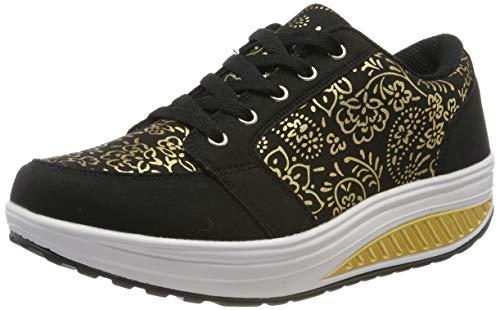 QZBAOSHU Donne Sneaker Dimagrante Passeggio Scarpe Fitness 2-Nero 37 EU/Etichetta 38