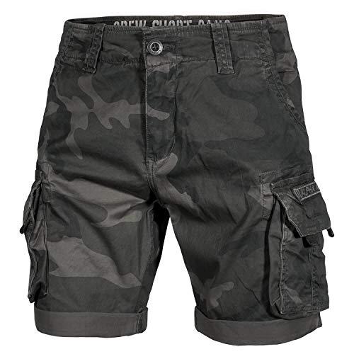 Camo Army Cargo Bdu Shorts (Alpha Ind. Crew Shorts Black camo - 30)