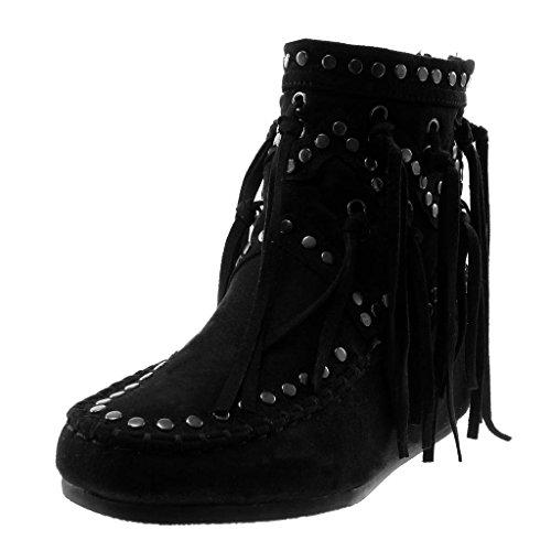 Angkorly - Damen Schuhe Stiefeletten - Mokassin Stiefel - Folk - Flexible - Fransen - Nieten - Besetzt - Fertig Steppnähte Keilabsatz 5 cm - Schwarz B7673 T 37