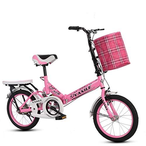 Kinder-Klapprad, ultraleichtes tragbares 16-Zoll-20-Zoll-Fahrrad für Grund- und Mittelschulkinder, stoßdämpfendes Mädchenfahrrad A ++ (Color : Pink -B, Size : 16 inches)