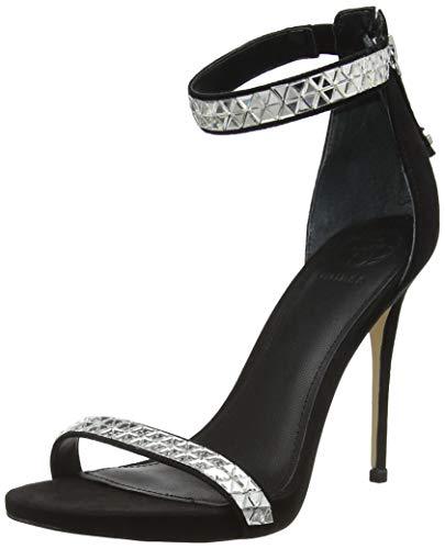 Guess Thadde (Sandal)/Fabric, Scarpe con Cinturino alla Caviglia Donna, Nero, 35 EU