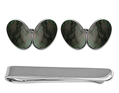 Sterling Silver Black mother of pearl grand ovale double face Coffret Cravate boutons de manchettes
