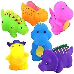 Flybiz flotante baño Silbar juguetes con bolsa, Juguete de baño divertido Juego de Silbar de dinosaurios de 6 piezas Juego de juguetes de agua de los juegos para niños (multicolor) bebé
