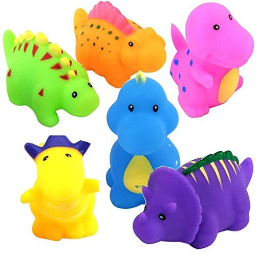 Flybiz Floating Bad Squirt Spielzeug, 6 Stück kleine Dinosaurier Spritzt weiches Gummi Badespielzeug mit Bad Sucker Mesh Aufbewahrungstasche, Badespielzeug Spielzeug für Baby Kinder Kleinkind. (Dinosaurier-bad)