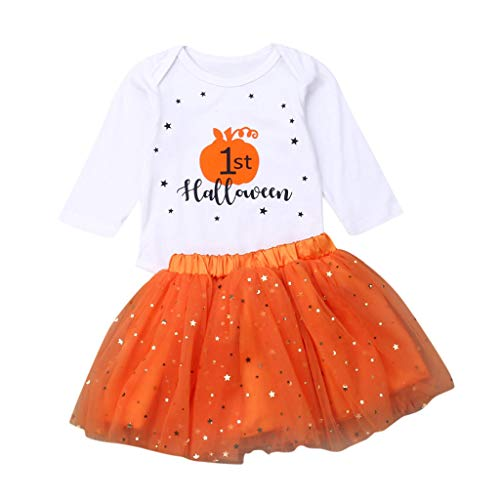 KINGWani ❤ Kind Kleinkind Baby Junge Halloween Kürbis Print Overall + Tutu Rock Outfits Set, für Kleinkind Kind langärmelige Kleidung Anzüge