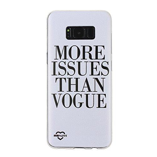 Galaxy S8 2017 , Asnlove Crystal Clear TPU Silikon Bumper Transparent Backcover Case Handy Schutzhülle Premium Kratzfest TPU Durchsichtige Schutzhülle für Samsung Galaxy S8, Englisch Sprichwort Weiß und Schwarz