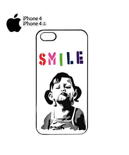 Banksy Girl Smile Happy Laugh Colourful Colorful Funny Mobile Phone Case Cover iPhone 4&4s Black Noir