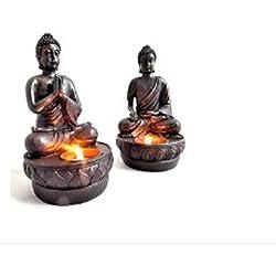 –Portavelas con diseño de Buda en un juego de 2unidades por 19cm