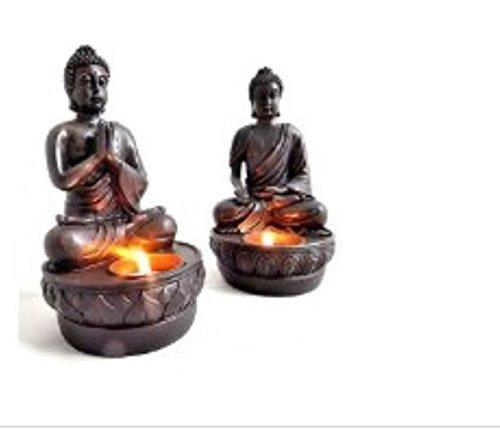 Buddha Teelichthalter im 2er Set je 19 cm