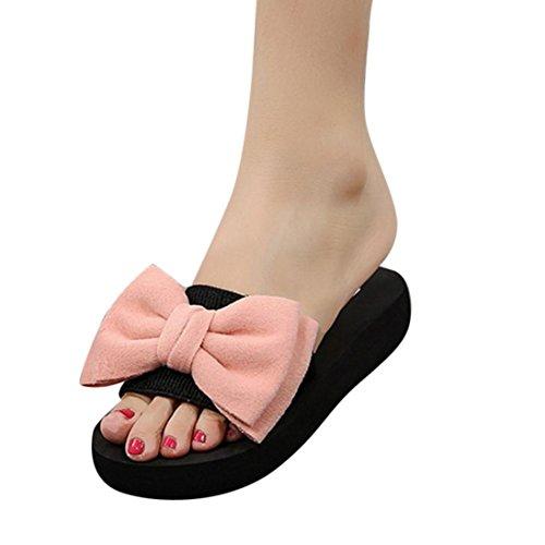 Winwintom ciabatte, sandali estivi donna pantofola indoor outdoor infradito scarpe da spiaggia fiocco blu flip-flop sandali sandali (38, rosa)