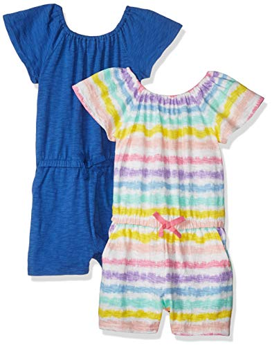 Spotted Zebra 2-Pack Knit Ruffle Top Rompers playwear-dresses, Rainbow Stripe/Blue, X-Large (12), 2er