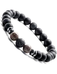 Jewelry & Watches Damen Armband Kette Lava Stein Perlen Handarbeit Braun Silber Rosé Wristbands