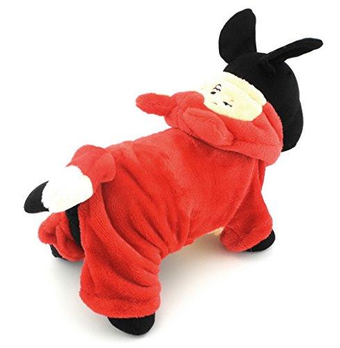 ranphy Kleine Haustiere Hund Overall Katze Kleidung Warm Fleece Little Fox Halloween-Kostüm Hoody Kleidung Rot