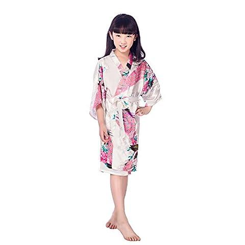 GL&G Chemises de nuit pour enfants Vêtements pour la maison Kimono Hommes et femmes Impression pour animaux Pyjama en soie Robes de bain en