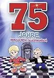 Archie Geburtstagskarte zum 75. Geburtstag Junge Mädchen rot Glückwunschkarte...