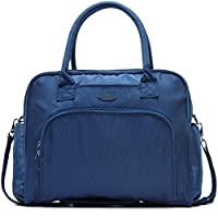 Lily & Drew Carry On Weekender Overnight Travel Shoulder Bag for 15.6 Inch Laptop Computers for Women (Navy Blue V2)