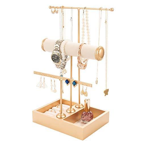 T-Form Schmuckständer Schmuckhalter Kettenhalter - 3 Stäben Schmuckbaum Kettenständer Uhrenständer QILICZ Schmuckaufbewahrung für Ringe, Ohrringe, Armbänder, Uhren und Accessoires