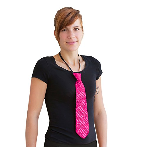 lletten Glitzer Krawatte Schlips - Party Fasching Karneval (Pink) (Pailletten-krawatte)