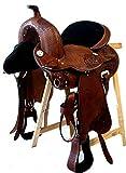 Baumloser Westernsattel ZUNI aus Büffelleder mit Klettkissen, Größe:16 Zoll