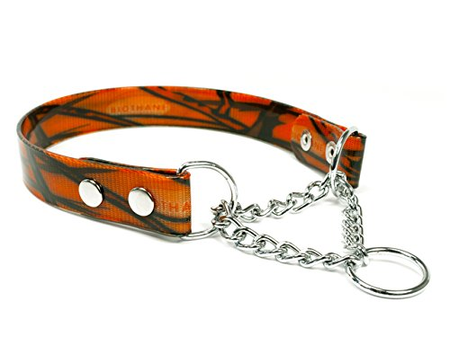 Mystique® Biothane Halsband mit Durchzugskette 25mm camo orange gold 55-65cm