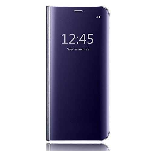 Galaxy s6 edge clear view standing cover, hichili lusso elegante glitter smart flip ultra slim view electroplated specchio rigida trasparente per custodia per samsung galaxy s6 edge, custodia per galaxy s6 edge, portafoglio custodia per galaxy s6 edge, blu scuro