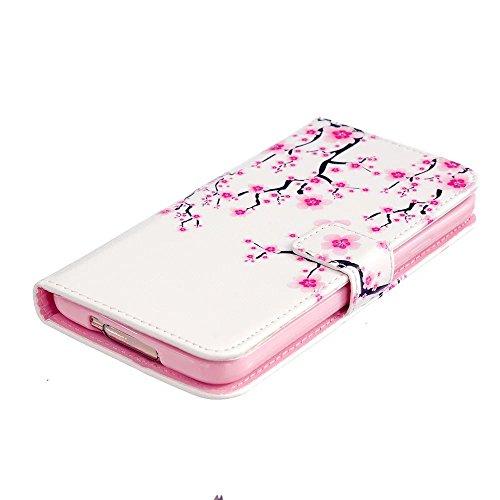tkshop Case Cover pour iPhone se/iPhone 5/iPhone 5S Coque Étui de protection Coque rigide ultra-fine avec fonction support et cuir PU Bookstyle Étui portefeuille poches à revêtement anti-chocs Magneti belle fleur prune