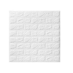 3D Ziegel Tapete, Wandaufkleber Stereo Wandtattoo Papier Abnehmbare selbstklebend Tapete für Schlafzimmer Wohnzimmer moderne Hintergrund TV-Decor 60x60cm (5 Stück Ziegel weiß)