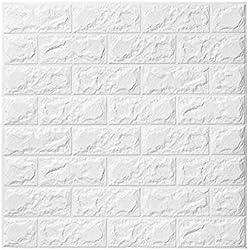 3D papier peint brique,autocollant de mur de mousse de PE amovible et de bton de PE pour le bureau à la maison (10 pièces blanches)